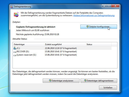 Zeitplan: Windows 7 Defragmentierung