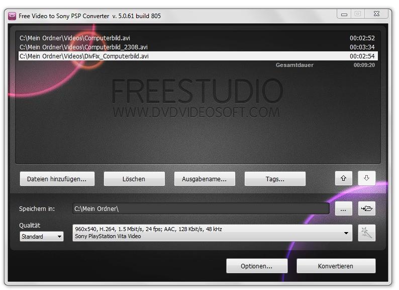 Screenshot 1 - Free Video to Sony PSP Converter