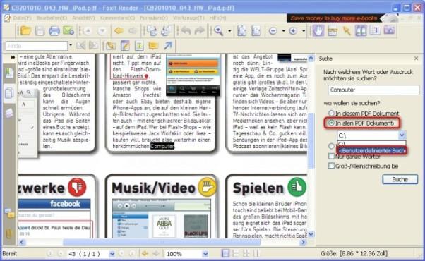 Foxit Reader: Alle PDF-Dateien in einem Ordner durchsuchen