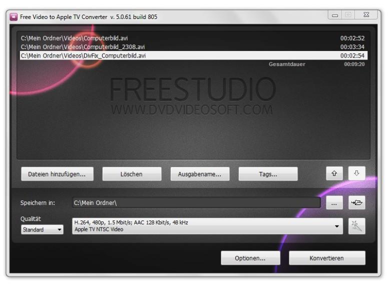 Screenshot 1 - Free Video to Apple TV Converter