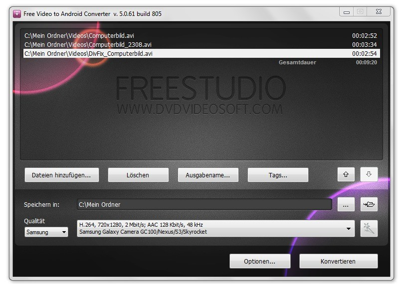 Screenshot 1 - Free Video to Android Converter