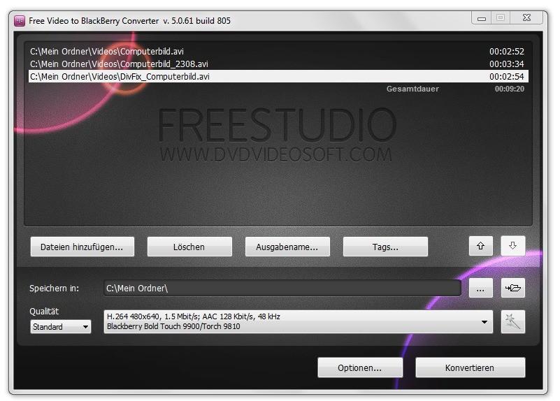 Screenshot 1 - Free Video to Blackberry Converter