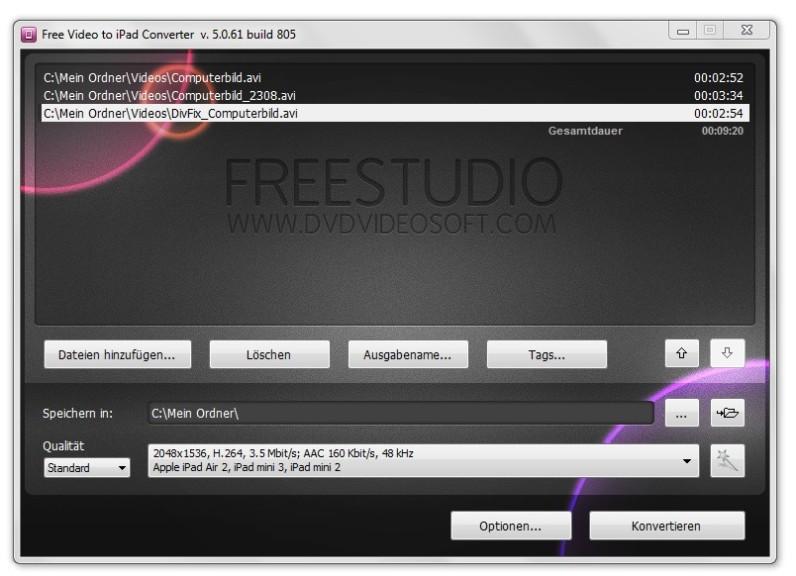 Screenshot 1 - Free Video to iPad Converter
