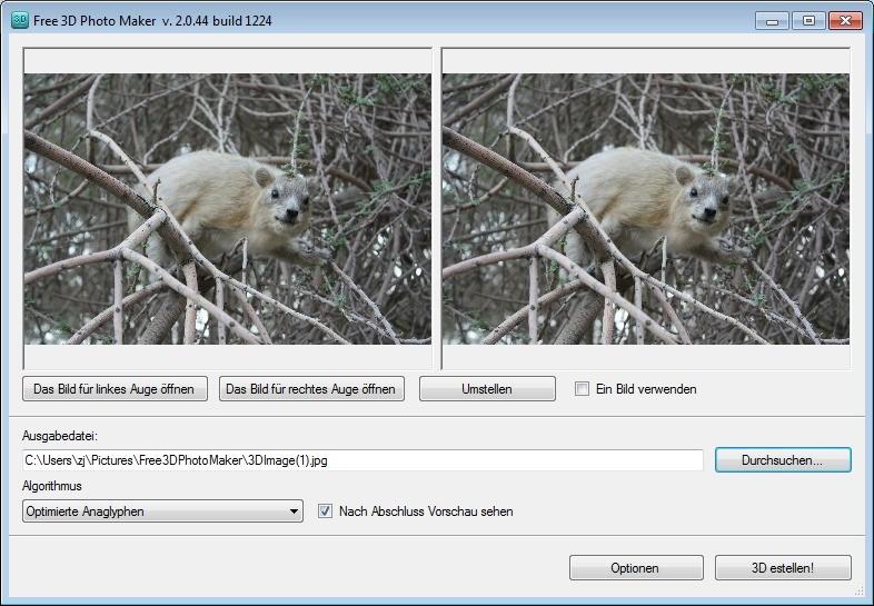 Screenshot 1 - Free 3D Photo Maker
