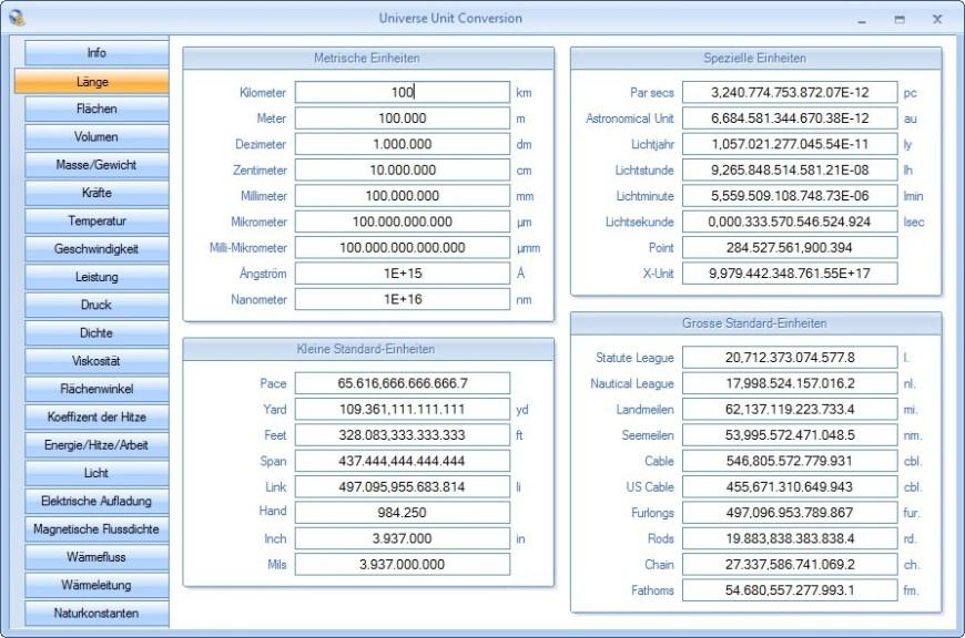 Screenshot 1 - Universe Unit Conversion
