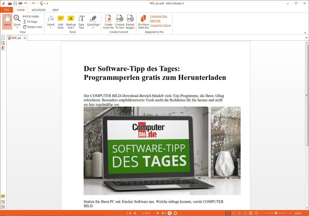 Screenshot 1 - Nitro PDF Reader (32 Bit)