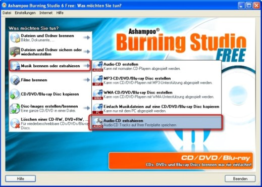 Ashampoo Burning Studio 6 Free: Audio-CD zu MP3s umwandeln