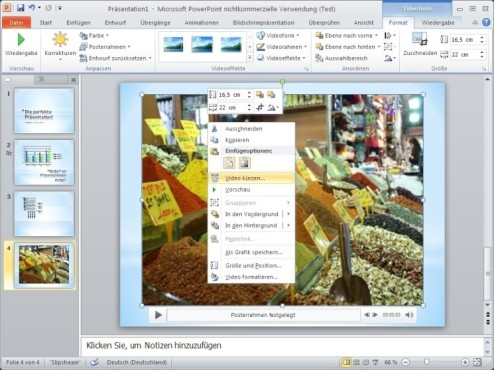 Office 2010: Video schneiden