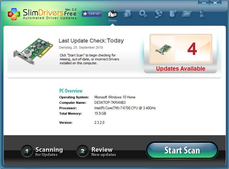 Screenshot 1 - SlimDrivers Free