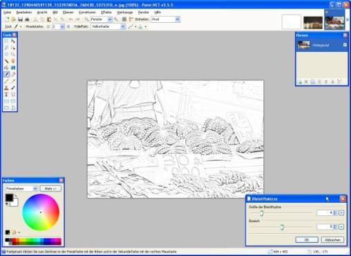 Paint.NET: Bleistiftskizze anfertigen