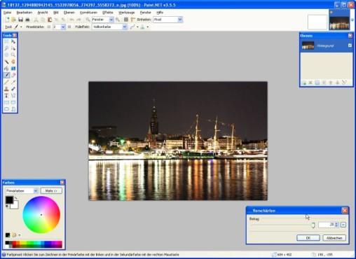 Paint.NET:  Einstellungen vornehmen