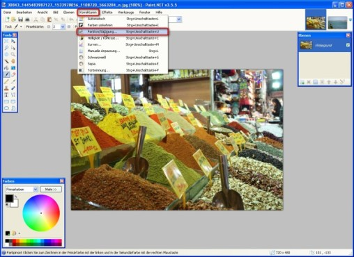 Paint.NET: Farbton und Sättigung anpassen