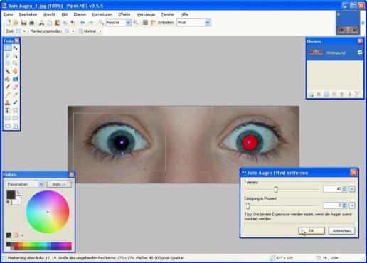 Paint.NET: Rote Augen retuschieren