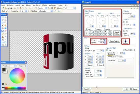 Paint.NET: Shape3D: Objektdrehung einstellen