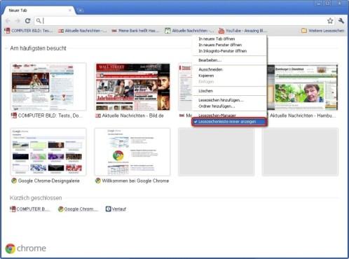 Google Chrome: Favoriten-Leiste immer anzeigen