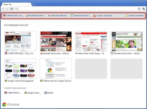 Google Chrome: Favoriten abrufen