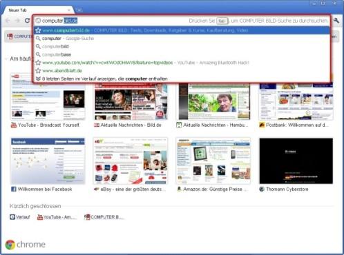 Google Chrome: Seitenvorschläge anzeigen