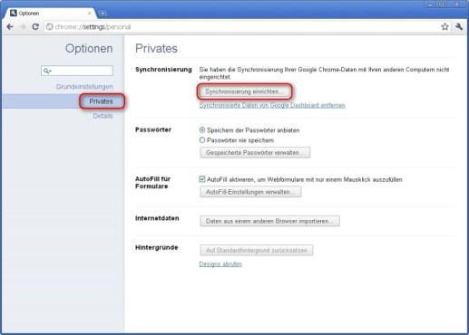 Google Chrome: Synchronisierung hinzufügen