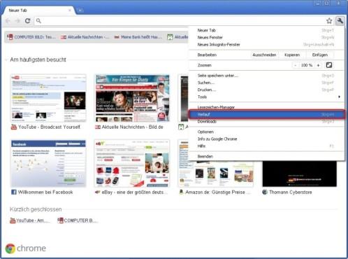 Google Chrome: Verlauf anzeigen