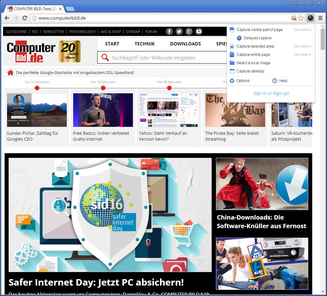 Screenshot 1 - Awesome Screenshot für Chrome