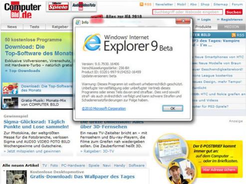 Internet Explorer 9 ©screenshot