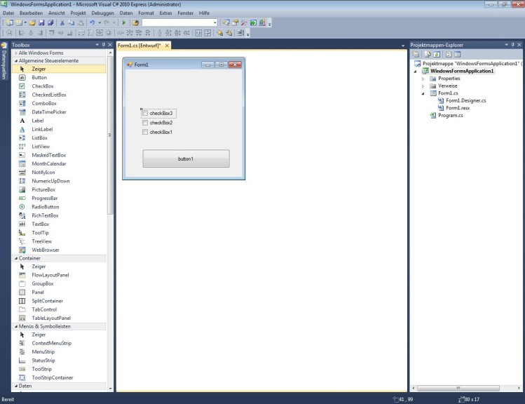 Screenshot 1 - Visual C# 2010 Express