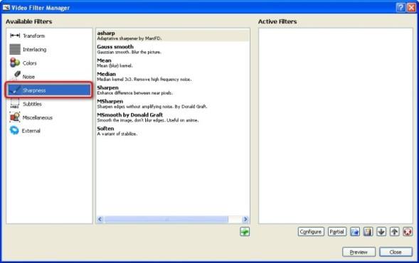 Avidemux: Videobild weichzeichnen oder nachschärfen