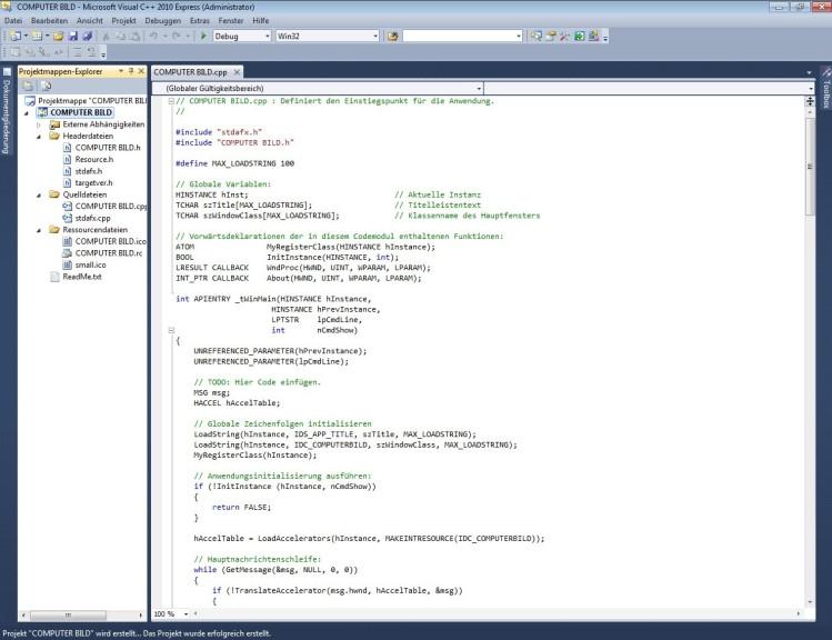Screenshot 1 - Visual C++ 2010 Express
