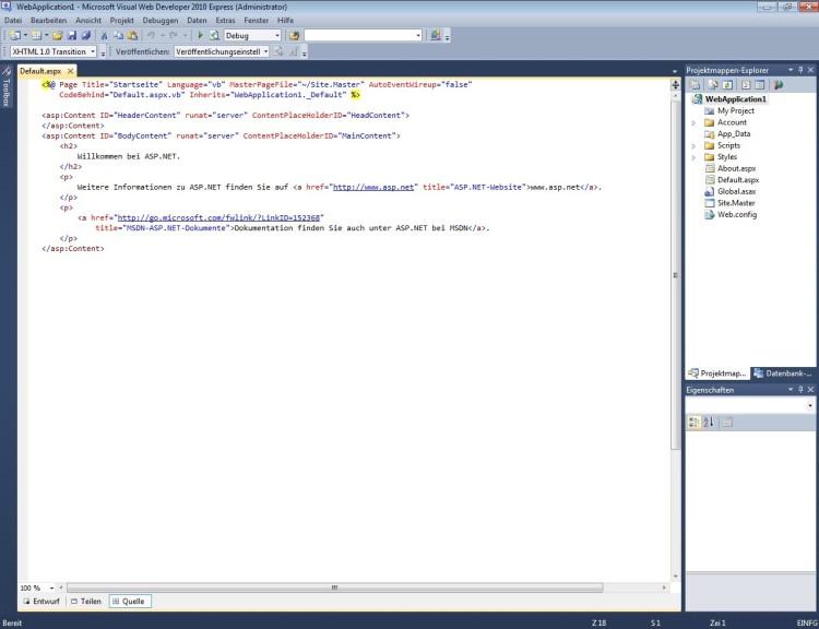 Screenshot 1 - Visual Web Developer 2010 Express