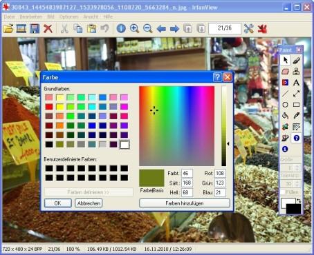 IrfanView: Farbpalette nutzen