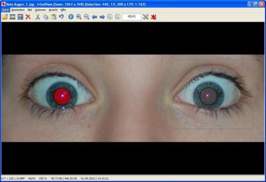 IrfanView: Rote Augen retuschieren