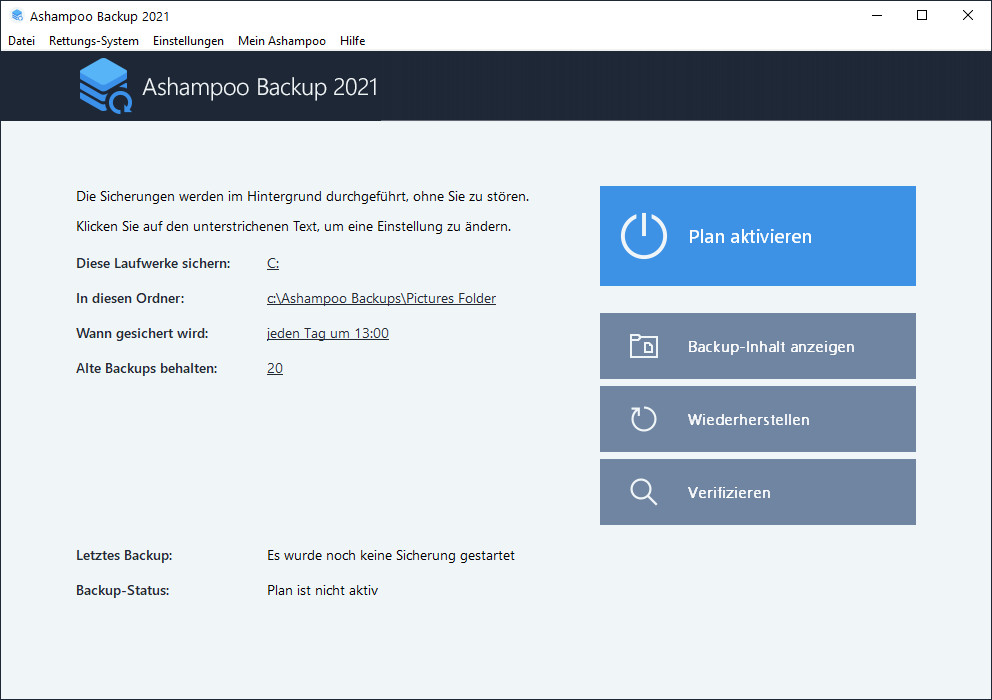 Screenshot 1 - Ashampoo Backup 2021 – Kostenlose Vollversion