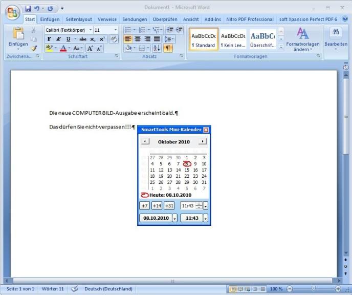 Screenshot 1 - SmartTools Mini-Kalender für Word