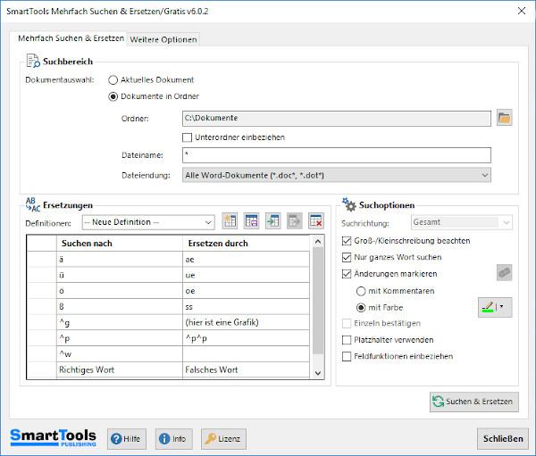 Screenshot 1 - SmartTools Mehrfach Suchen/Ersetzen