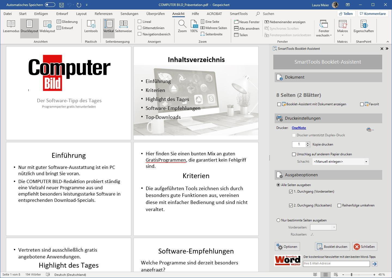 Screenshot 1 - SmartTools Booklet-Assistent für Word