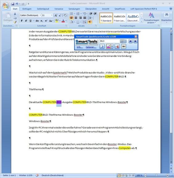 Screenshot 1 - SmartTools QuickSearch für Word