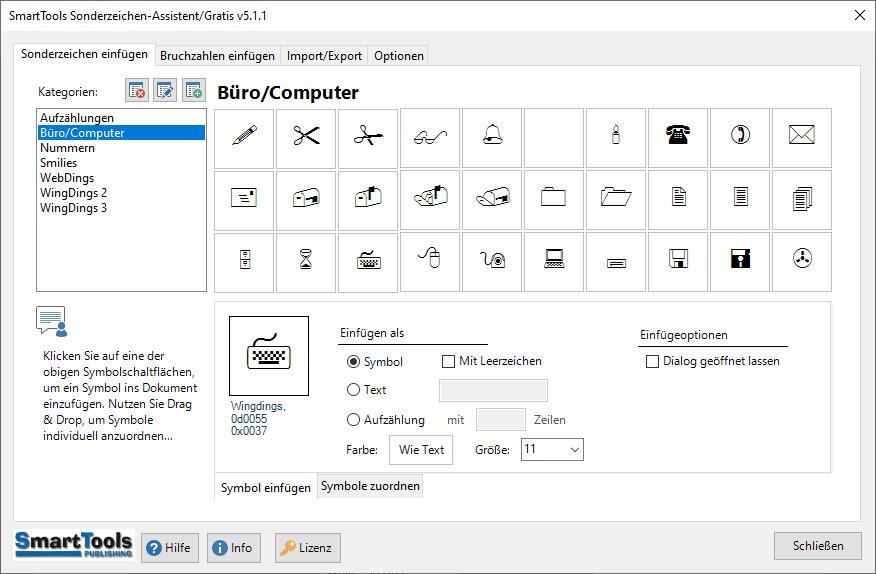 Screenshot 1 - SmartTools Sonderzeichen-Assistent für Word
