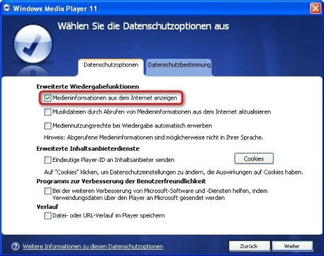 Windows Media Player: Musikinformationen aus dem Internet empfangen