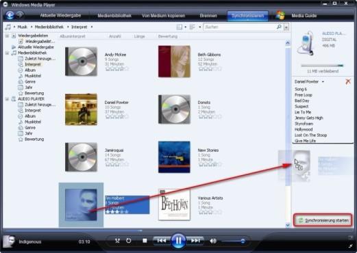 Windows Media Player: Mediendateien zum Synchronisieren auswählen