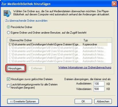 Windows Media Player: Zusätzliche Ordner nach Mediendateien durchsuchen