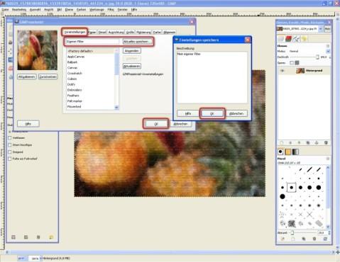 GIMP: Effekte speichern