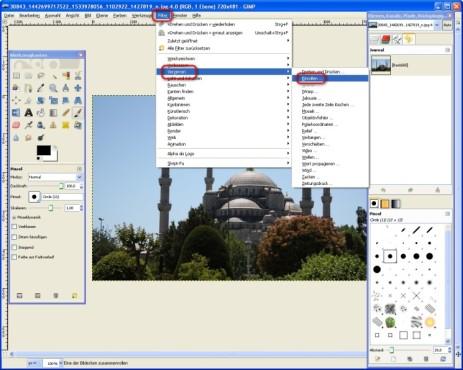 GIMP: Foto einrollen