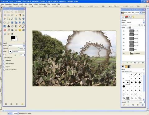GIMP: Kaffeeflecken integrieren