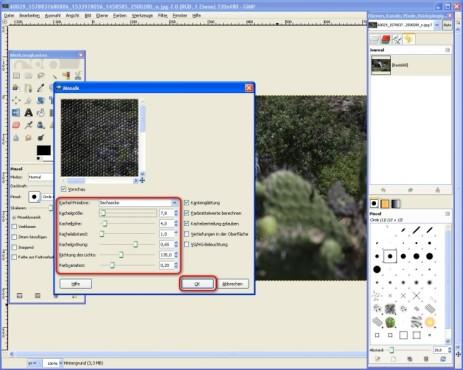 GIMP: Mosaik-Eigenschaften einstellen