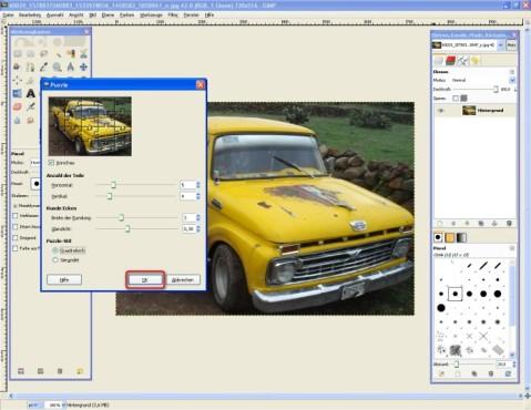 GIMP: Puzzle anpassen