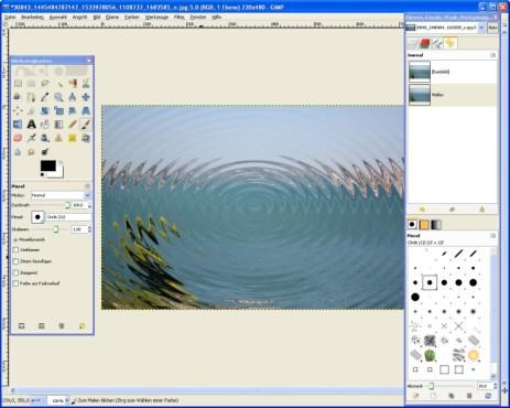 GIMP: Wasserfläche integrieren