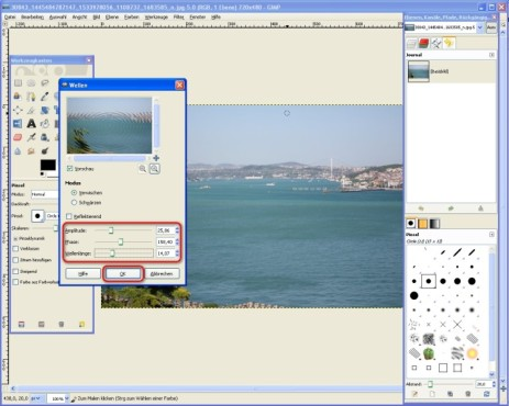 GIMP: Wellen kalibrieren