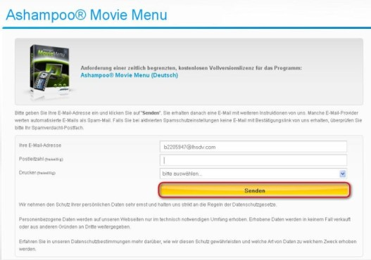 Ashampoo Movie Menu: E-Mail-Adresse eingeben