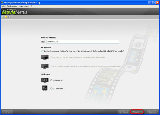 Ashampoo Movie Menu: Titel und Bildformat bestimmen