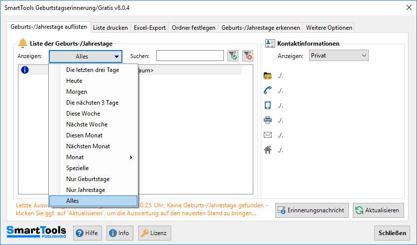 Screenshot 1 - SmartTools Geburtstagserinnerung für Outlook